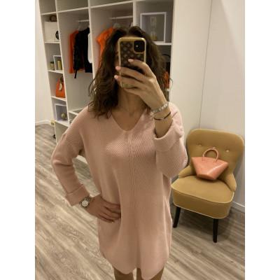 Pull-Robe en maille rose à manches pliés