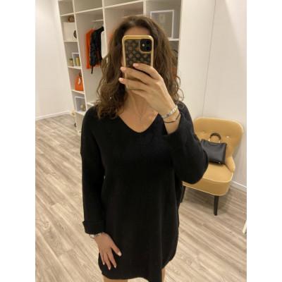 Pull-Robe en maille noir à manches pliés