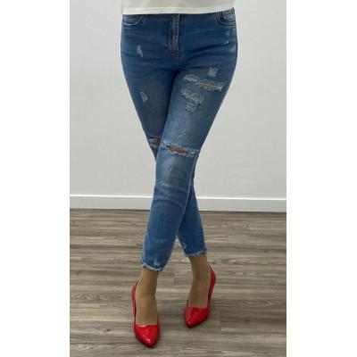 Jeans bleu clair slim destroy