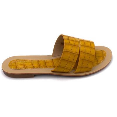 Claquettes simili-cuir jaunes effet croco