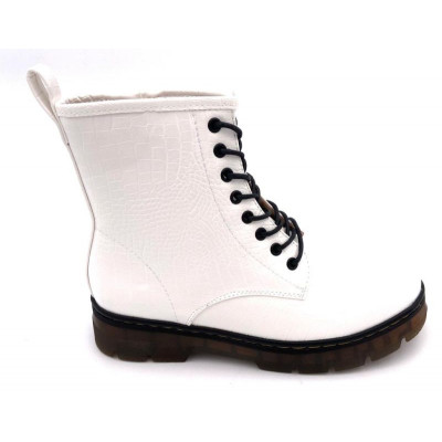 Bottines simili-cuir blanc mat effet croco