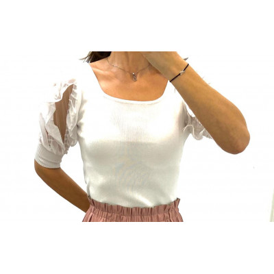 Pull court manches 3/4 en tulles blanc
