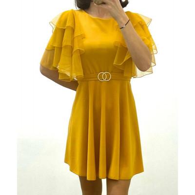 Robe manche courte double anneaux jaune