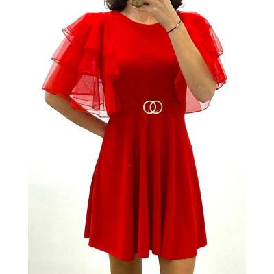 Robe manche courte double anneaux rouge
