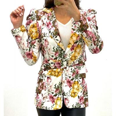 Blazer fleurie à ceinture blanc