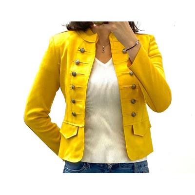 Veste cavalière courte simili-daim jaune