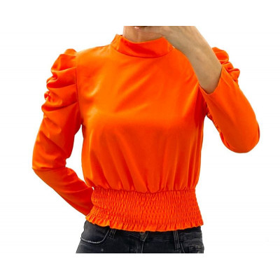 Blouse orange épaules bouffantes