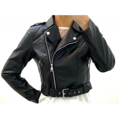Perfecto court simili-cuir noir effet croco