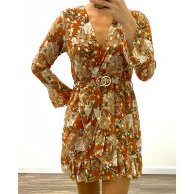 Robe fleurie orange à imprimés dorés