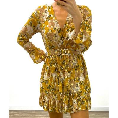 Robe fleurie jaune à imprimés dorés