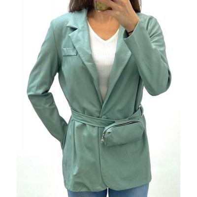 Blazer simili-cuir turquoise avec ceinture pochette