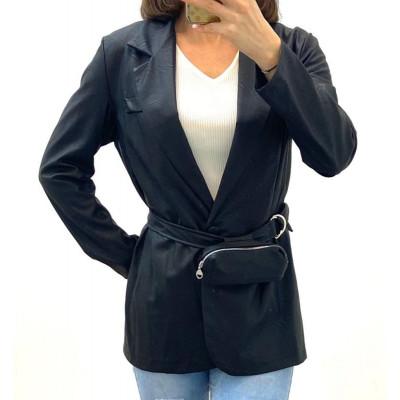 Blazer simili-cuir noir avec ceinture à pochette