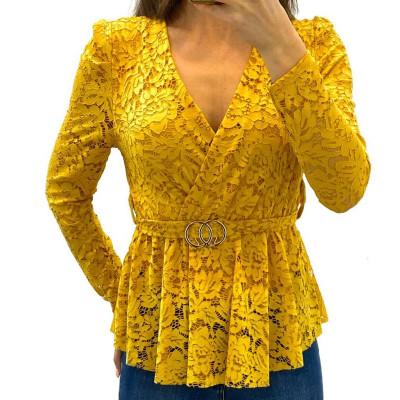 Blouse cache-coeur en dentelle jaune