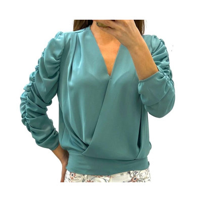 Blouse cache-coeur manches ballons turquoise
