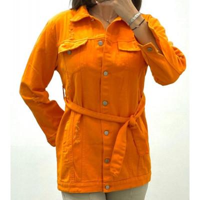 Veste en jeans orange à ceinture
