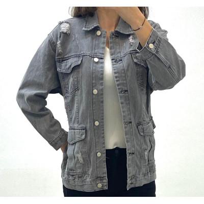 Veste en jeans gris à ceinture