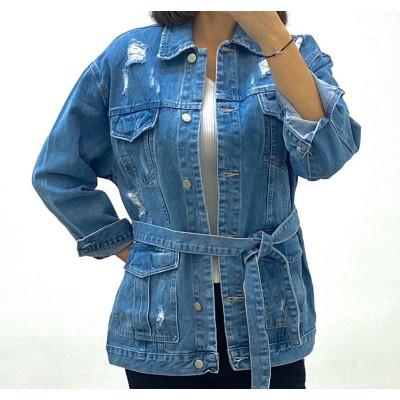 Veste en jeans bleu à ceinture
