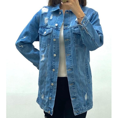 Veste en jeans destroy bleu à ceinture