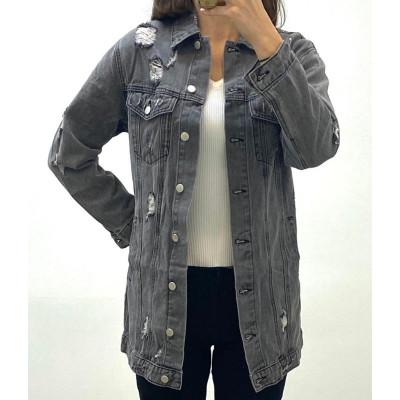Veste en jeans destroy gris à ceinture