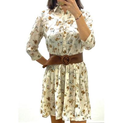 Robe-chemise blanc imprimé à fleurs