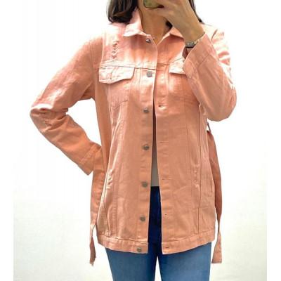 Veste en jeans rose à ceinture