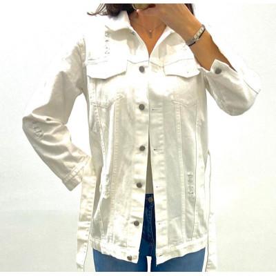 Veste en jeans blanc à ceinture