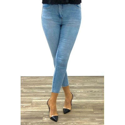 Jeans bleu clair skinny taille haute