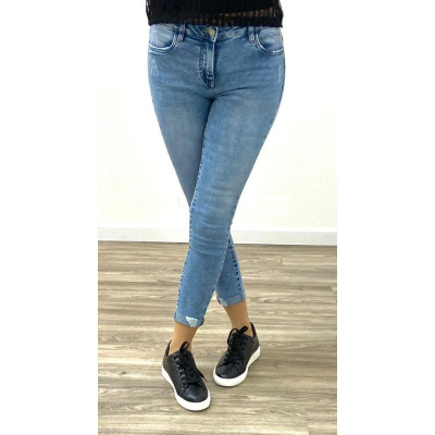 Jeans bleu clair skinny taille moyenne