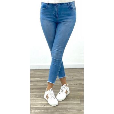 Jeans bleu skinny taille haute à griffures