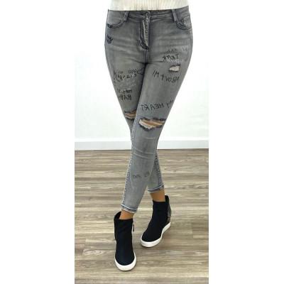 Jeans gris skinny taille haute destroy et imprimé