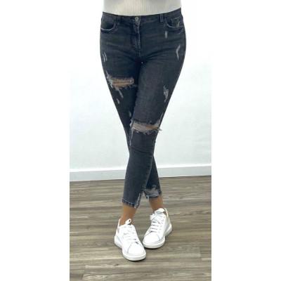 jeans gris skinny maxi destroy