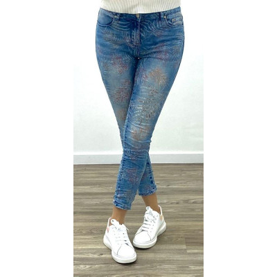 Jeans bleu slim imprimé tropical