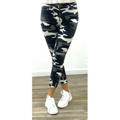 Jeans slim camouflage destroy