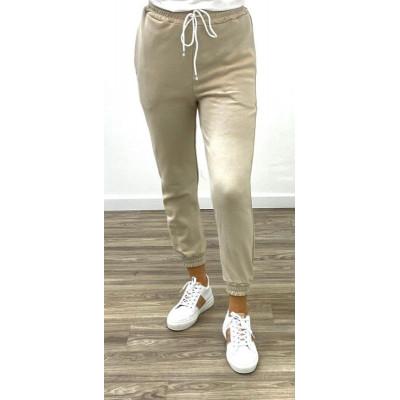 Pantalon de jogging beige en coton
