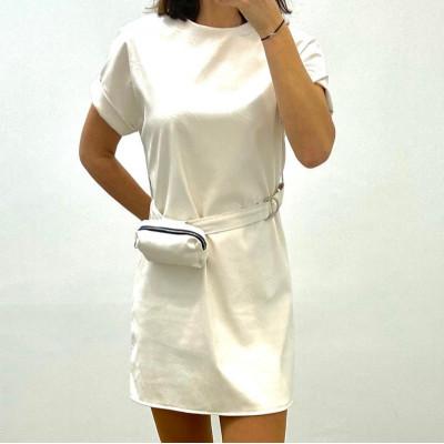 Robe simili cuir avec ceinture et pochette blanc