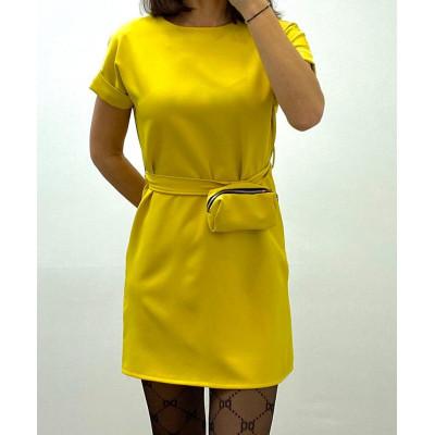 Robe avec ceinture et pochette amovible jaune