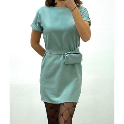 Robe avec ceinture et pochette amovible bleu