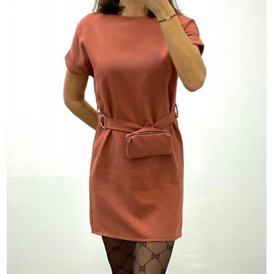 Robe avec ceinture et pochette amovible rose