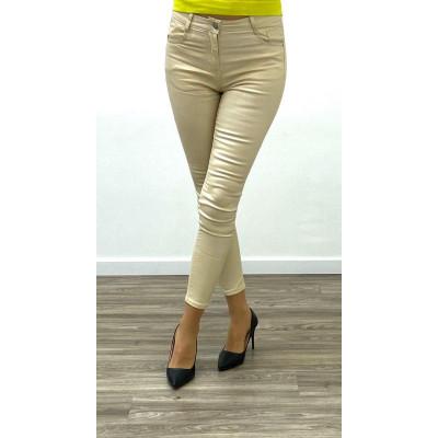 Pantalon simili-cuir skinny beige
