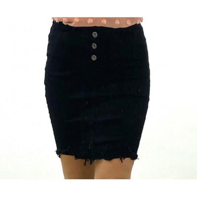 Jupe en jeans noir éfiloché à multi-boutons