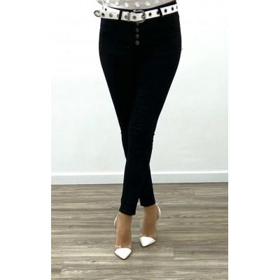 Jeans slim noir à multi boutons