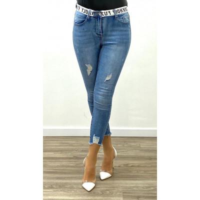 "Jeans skinny bleu à ceinture ""HOLY FUXK YOLO"""