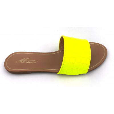 Claquettes simili-cuir jaunes fluo effet croco