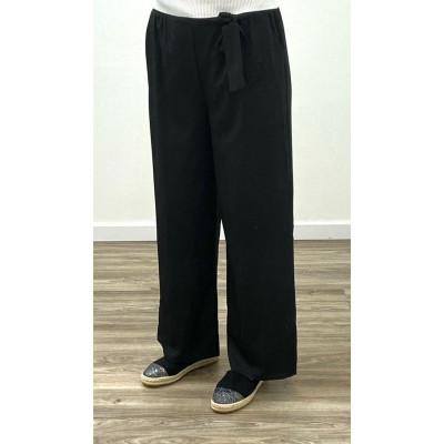 Pantalon fluide à ceinture noir