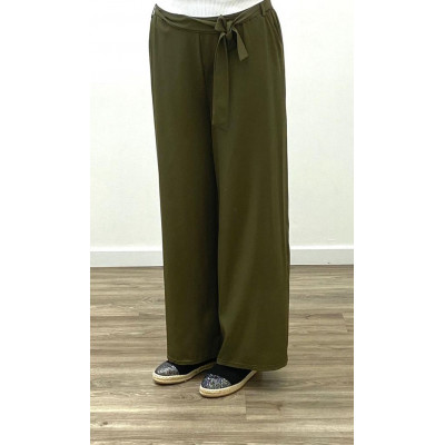 Pantalon fluide à ceinture kaki