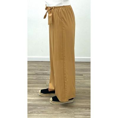 Pantalon fluide à ceinture beige