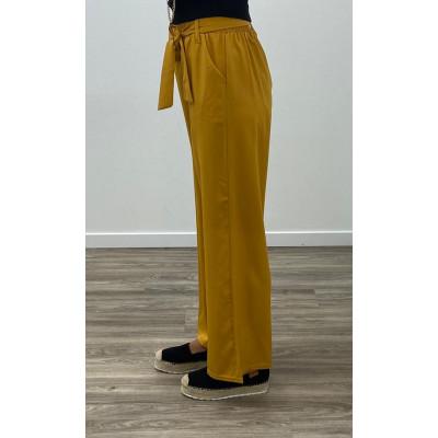 Pantalon fluide à ceinture moutarde