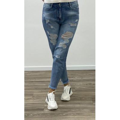 Jeans bleu clair boyfriend destroy