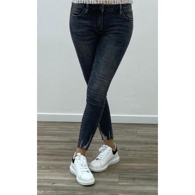 Jeans noir skinny avec cheville éffiloché