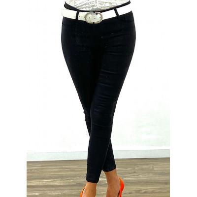 Jeans skinny noir à carreaux